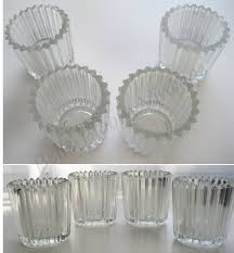 dozen crystal glass votive holders clear tealight candle