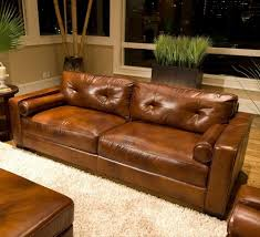 Brown Leather Sofa Living Room Ideas by Furniture Brown Distressed Leather Sofa With White Furry Rug And