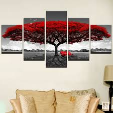 3d rot baum landschaft wandbilder leinwand bilder abstrakt
