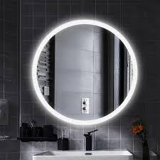 led anti fog rund badspiegel wandspiegel mattierter gürtel kühles weiß 60 60cm