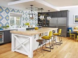 Captivating Kitchen Ideas Using Top Furniture Home Decor Transitional With Eclectic Blue And Yellow Wall Tiles