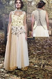 buy online party wear gowns uk off white u0026 beige indian evening gown
