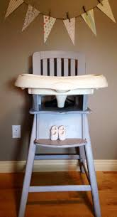 Re loved Ed Bauer wood high chair painted in ASCP Paris Grey distressed and
