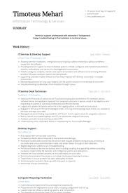 It Services Desktop Support Resume Example