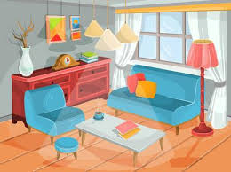 gezeichnete karikatur der zeitgenössischen wohnzimmer