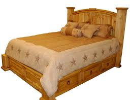 Image Of Rustic Platform Bed With Drawers