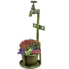 Single Vintage Verdigris Rustic Metal Garden Tap Planter Flower Plant Stand Pot