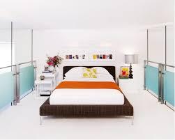 Modern Loft Style White Floor Bedroom Idea In New York With Walls