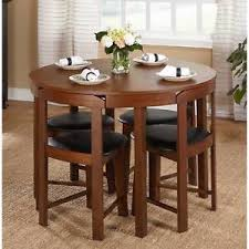 5 Piece Dining Table Set Oak Wood Kitchen Room 4 Chairs Compact Round Furniture