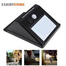 led solar power pir motion sensor wall light outdoor waterproof