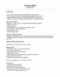 Banquet Server Resume Example