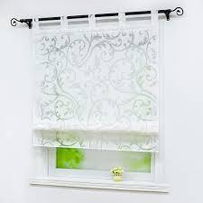 joyswahl raffrollo ausbrenner rankenmuster raffgardinen mit schlaufen gardinen in küche bxh 80x140cm weiß by 21