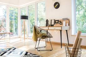 100 Bright Apartment Modern Home Office With Black Lamp Clock And Metal Chair In