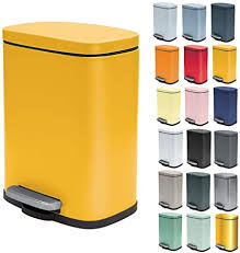 spirella kosmetikeimer 5 liter edelstahl mit absenkautomatik und inneneimer badezimmer mülleimer softclose abfalleimer gelb