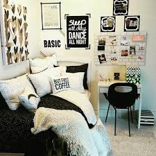 bed bedroom black and white decor decoration desk diy girly