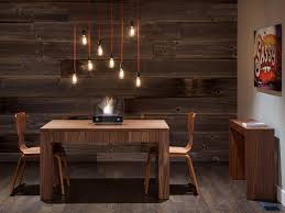 Rustic Dining Room With Modern Pendant Lights Exposed Edison Light Cheap Lighting For