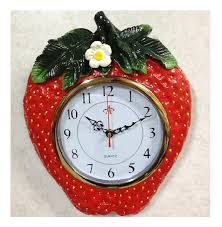Kitchen Creative Home Decor Ideas Of Strawberry To Boost Good Feelings And Refreshing Atmosphere Pretty Wall Clock For