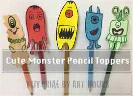Cute Monster Pencil Toppers Easy Papercraft DIY For Kids