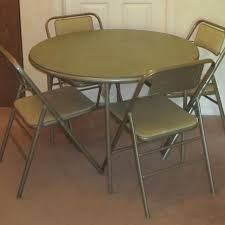 best vintage samsonite round foldable card table and four chairs