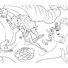 Barbie Coloring Pages For Girls Under Water Sheets