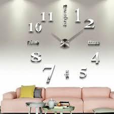 details zu wand uhr wohnzimmer wanduhr wandtattoo aufkleber deko xxxl 3d design silber dhl