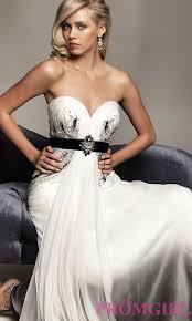 long strapless black and white dress promgirl