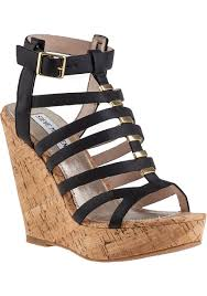 steve madden indyanna wedge sandal black jildor shoes since 1949