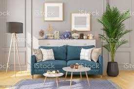wohnzimmerinterieur mit bilderrahmen an grauen wänden stockfoto und mehr bilder architektur