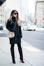 sweater dress chloe drew bag black tights and club monaco