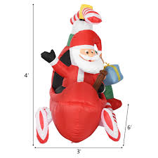 Outdoor Lighted Santa Face Homcom Inflatable 6ft Santa Claus Wled