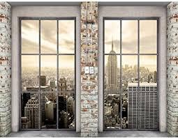 runa fototapete fenster new york modern vlies wohnzimmer schlafzimmer flur made in germany beige 9345010c