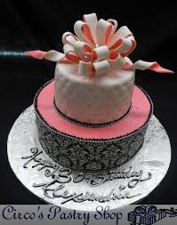Damask Pink White and Black Birthday Cake Two tier fondant Cake with Black and White