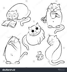 Set With Five Fat Cats In Vector Black Outline