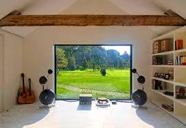 Interior Design Cool Home Music Studio With Large Windows