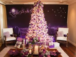 Flocked Christmas Trees Decorated by Retro Inspired Purple And White Christmas Decorations Christmas