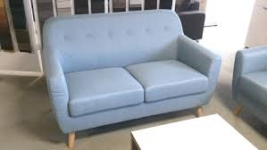 sofa 2 sitzer linon retro leinenstoff hellblau und buche