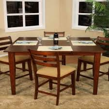 Traditional Gathering Dinette Table Design With Five Pieces Counter Height Dining Set Beige Colored