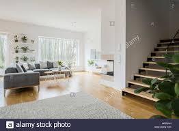 weiß wohnzimmer interieur mit graue eckcouch frische grüne