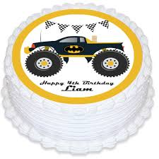 Monster Truck Round Edible Cake Topper – Deezee Designs Personalised Monster Truck Edible Icing Birthday Party Cake Topper Buy 24 Truck Tractor Cupcake Toppers Red Fox Tail Tm Online At Low Monster Trucks Cookie Cnection Grave Digger Free Printable Sugpartiesla Blaze Cake Dzee Designs Jam Crissas Corner Cake Topper Birthday Edible Printed 4x4 Set Of By Lilbugspartyplace 12 Personalized Grace Giggles And Glue Image This Started