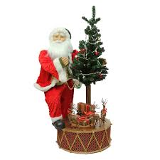 Pre Lit Musical Santa Rotating Drum Christmas Decor
