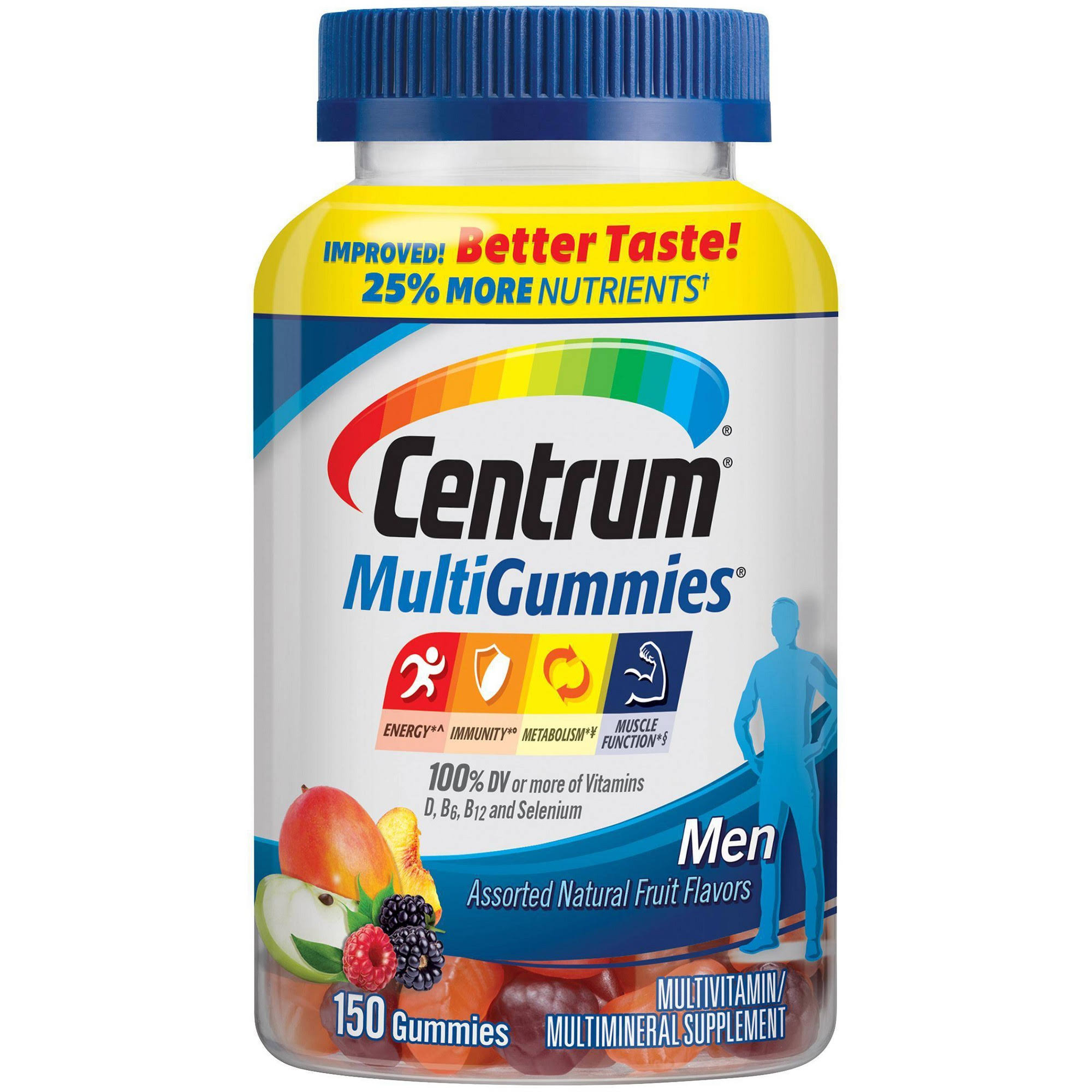 Centrum Multi Gummies, Men, Assorted Natural Fruit Flavor - 150 gummies