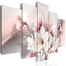 decomonkey bilder blumen 100x50 cm 5 teilig leinwandbilder