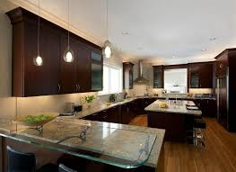 exciting led lights in the kitchen design brown wooden
