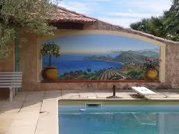 mur de separation exterieur décoration en trompe l oeil en extérieur