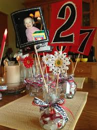 love this idea center pieces with a picture the number is how