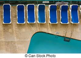 Pool Chairs Top View Of Two Empty White Deck In A Swimming