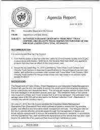 100 Transwest Truck Center Agenda Report