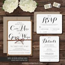 Rustic Wedding Invitation With Rsvp And Detail Cards Set Organic Barn Farm Simple Elegant