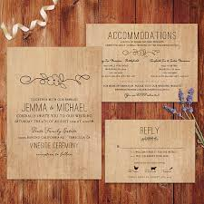 Rustic Wedding Invitations Wood Background
