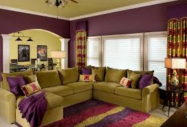 purple and brown living room ideas concrete fireplace fabric